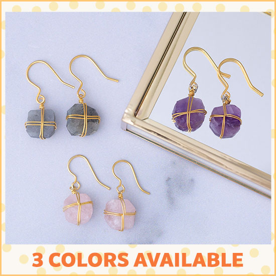 Wrapped Stone Gold-Plated Earrings - 3 Colors Available