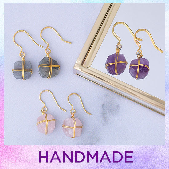 Wrapped Stone Gold-Plated Earrings - Handmade