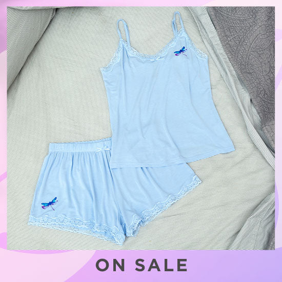 Dragonfly Lace Camisole Short Set - On Sale