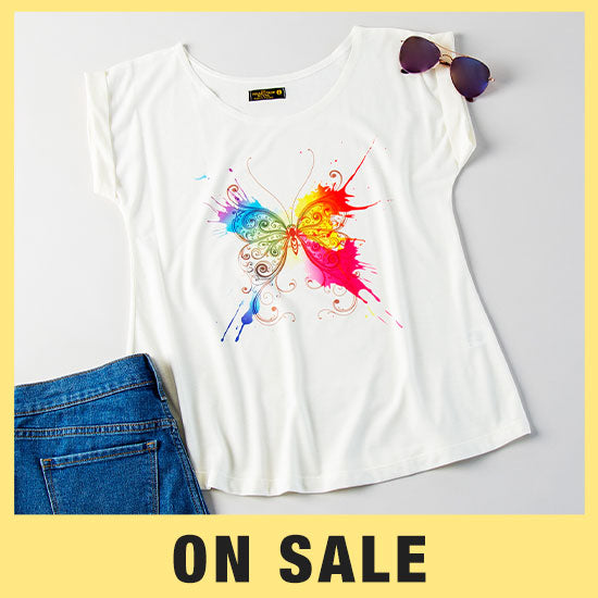 Painted Butterfly Rolled T-Shirt - On Sale