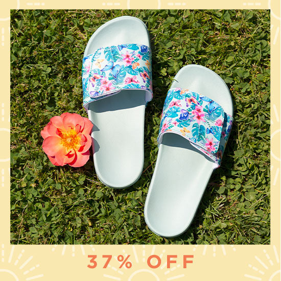 Fluttering Friends Adjustable Slide Sandals - 37% OFF