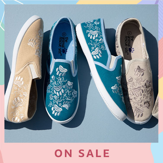 Paws Aplenty Embroidered Canvas Slip-On Shoes - On Sale