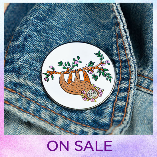 Hanging Out Sloth Enamel Pin - On Sale