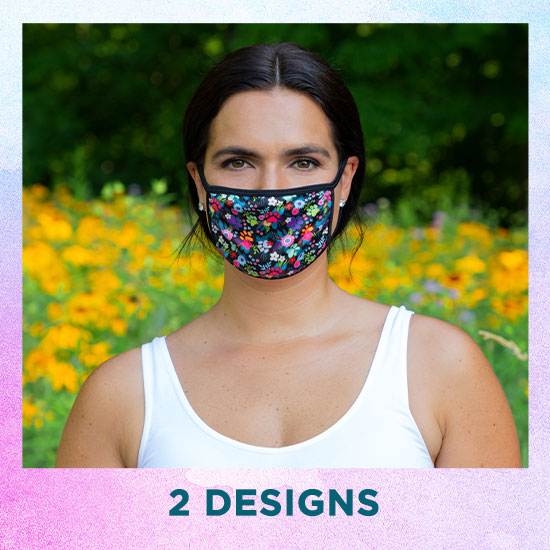 Paw Print Fashion Face Mask with Ear Loops - 2 Designs