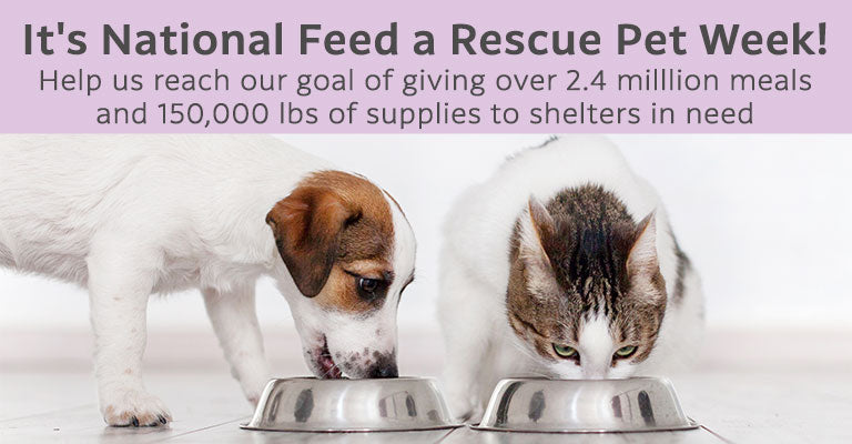 It's National Feed a Rescue Pet Week! Help us reach our goal of giving over 2.4 milllion meals and 150,000 lbs of supplies to shelters in need