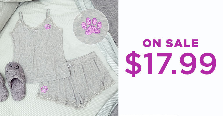 Paw Print Lace Camisole Short Set | On Sale | $17.99