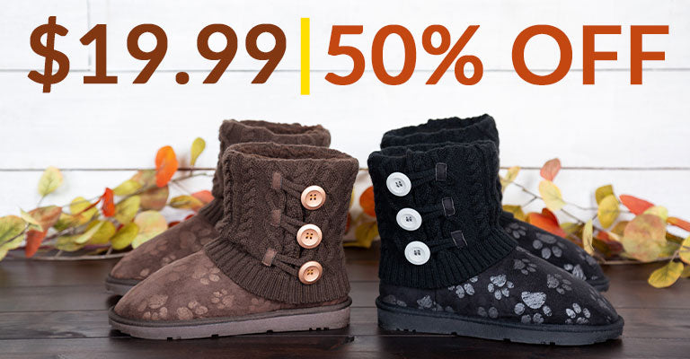 Paw Impression Mid Rise Knit Boots | 50% OFF | $19.99