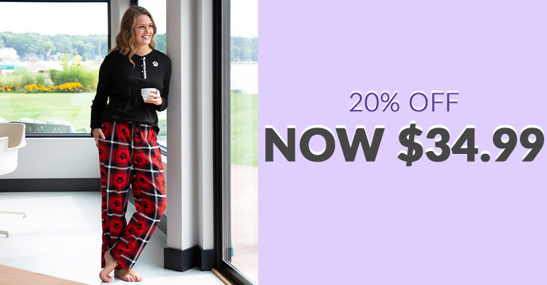 Plaid Paw Flannel Pajama Thermal Set | 20% OFF | Now $34.99