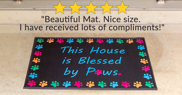 Blessed By Paws Door Mat | Five Stars