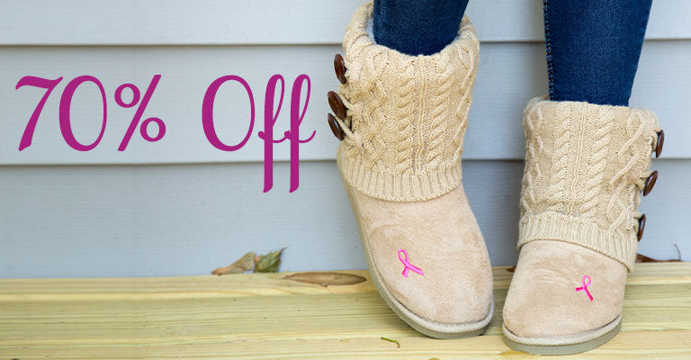 Pink Ribbon Mid Rise Knit Boots | 70% OFF