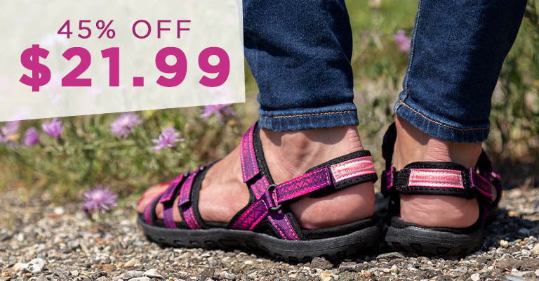 Ultralite™ Pink Ribbon Strappy Sport Sandals | 45% OFF | $21.99