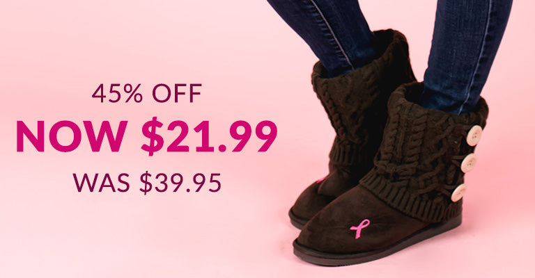Pink Ribbon Mid Rise Knit Boots for Women | 45% OFF | Was $39.95 | Now $21.99