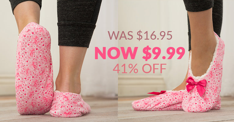 Super Cozy™ Pink Ribbon Women's House Slippers | Was $16.95 | Now $9.99 | 41% OFF