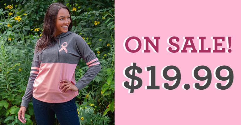 Believe Pink Ribbon Two-Toned Hooded Tee | On Sale! $19.99