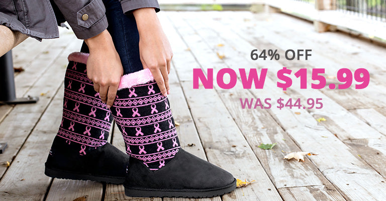 Pink Ribbon Knit Boots for Women | Was $44.95 | Now $15.99 | 64% OFF