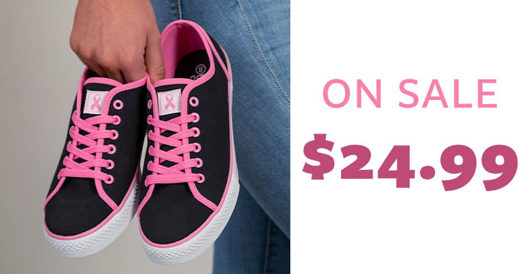 Pink Ribbon Breast Cancer Sneakers | On Sale | $24.99