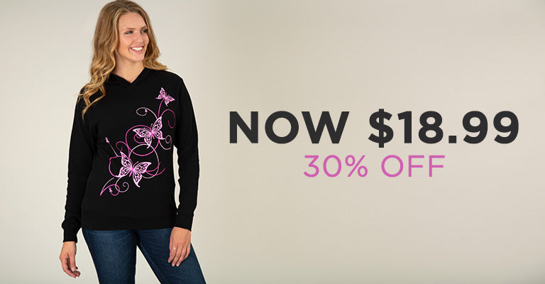 Pink Ribbon Butterfly Lightweight Thermal Hoodie | 30% OFF | Now $18.99