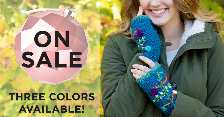 Flower Embroidery Fingerless Mittens | On Sale! Three Colors Available!