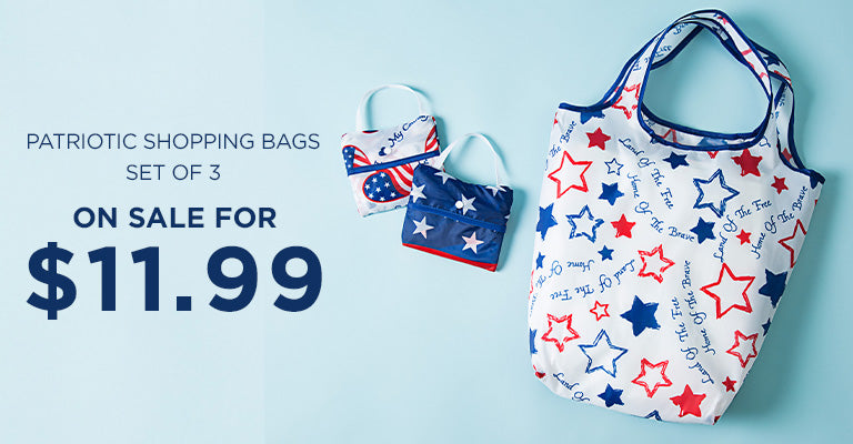 Patriotic Shopping Bags - Set of 3 | On Sale for $11.99