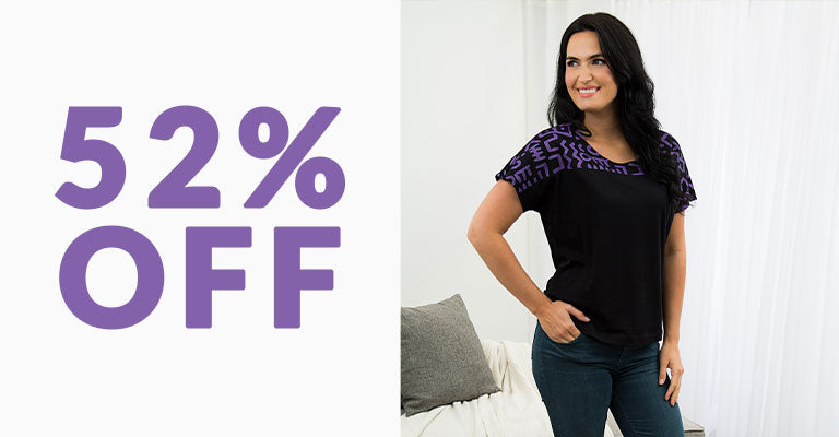 Textile Traditions Printed Plum Top | 52% OFF