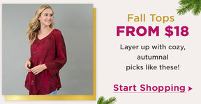 Fall Tops From $18   Layer up with cozy, autumnal picks like these!   Start Shopping