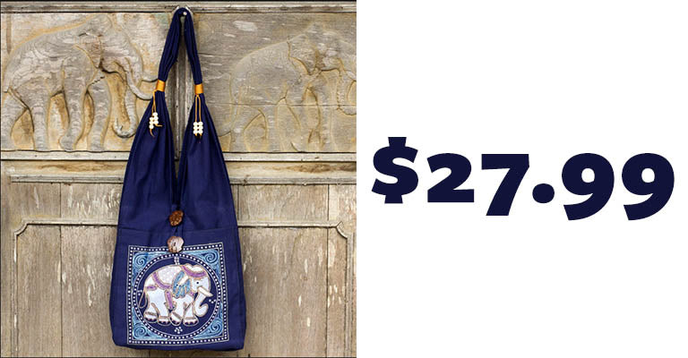 Lucky Elephant Embroidered Blue Shoulder Bag | $27.99