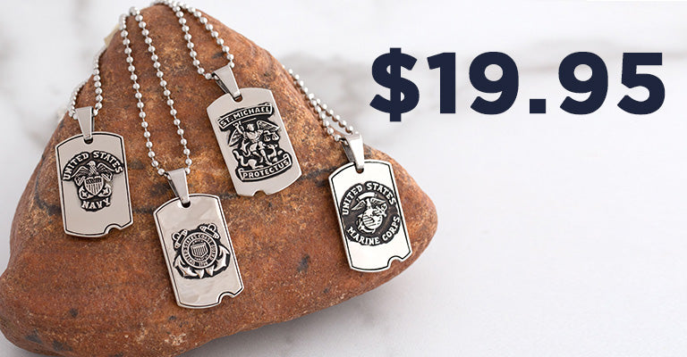 St. Michael Military Dog Tag Necklace   $19.95