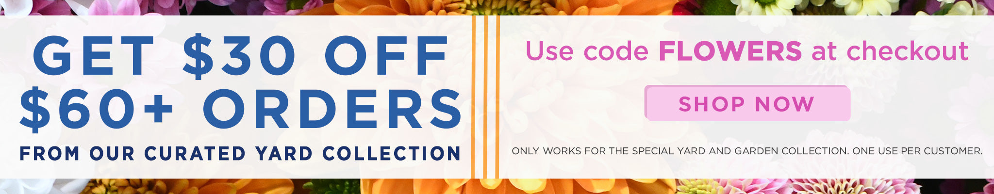 Get $30 Off $60+ Orders from Our Curated Yard Collection | Use code FLOWERS at checkout | Shop Now | Only works for the special yard and garden collection. One use per customer.