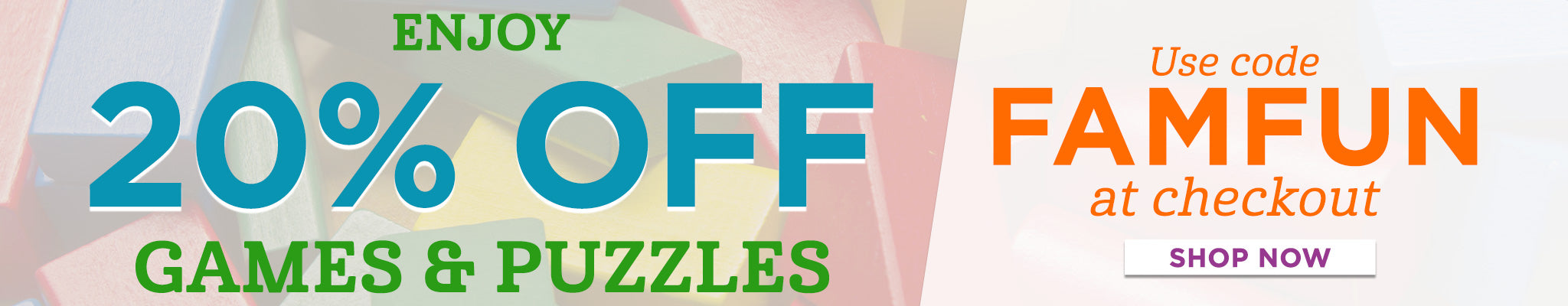 20% OFF Games & Puzzles Collection | Use Code FAMFUN