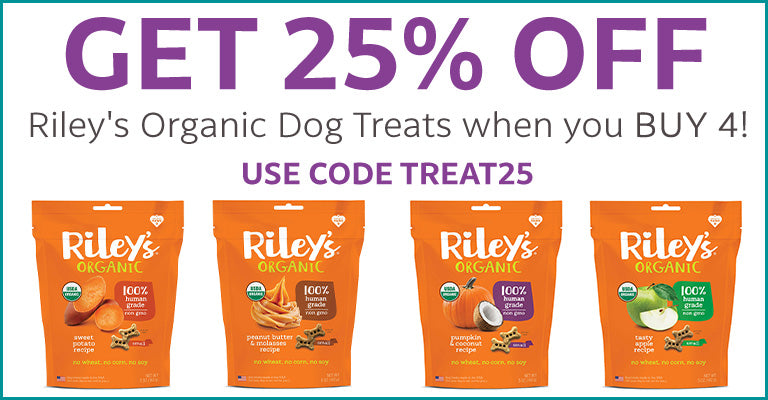 Get 25% OFF Riley's Organic Dog Treats when you Buy 4!
