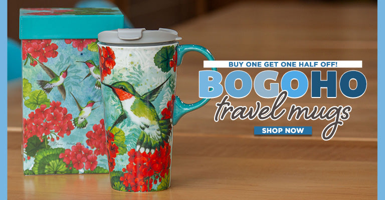 Buy 1, Get 1 Half Off on select Travel Mugs!