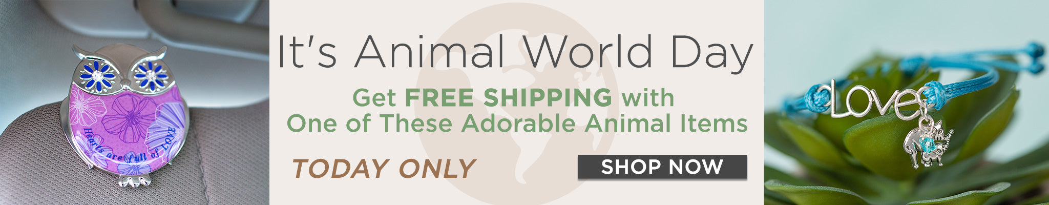 Today's World Animal Day   Get Free Shipping with one of these adorable animal items