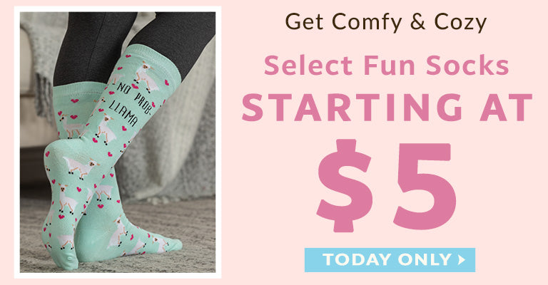 Get Comfy & Cozy | Select Fun Socks Starting at $5 | Today Only