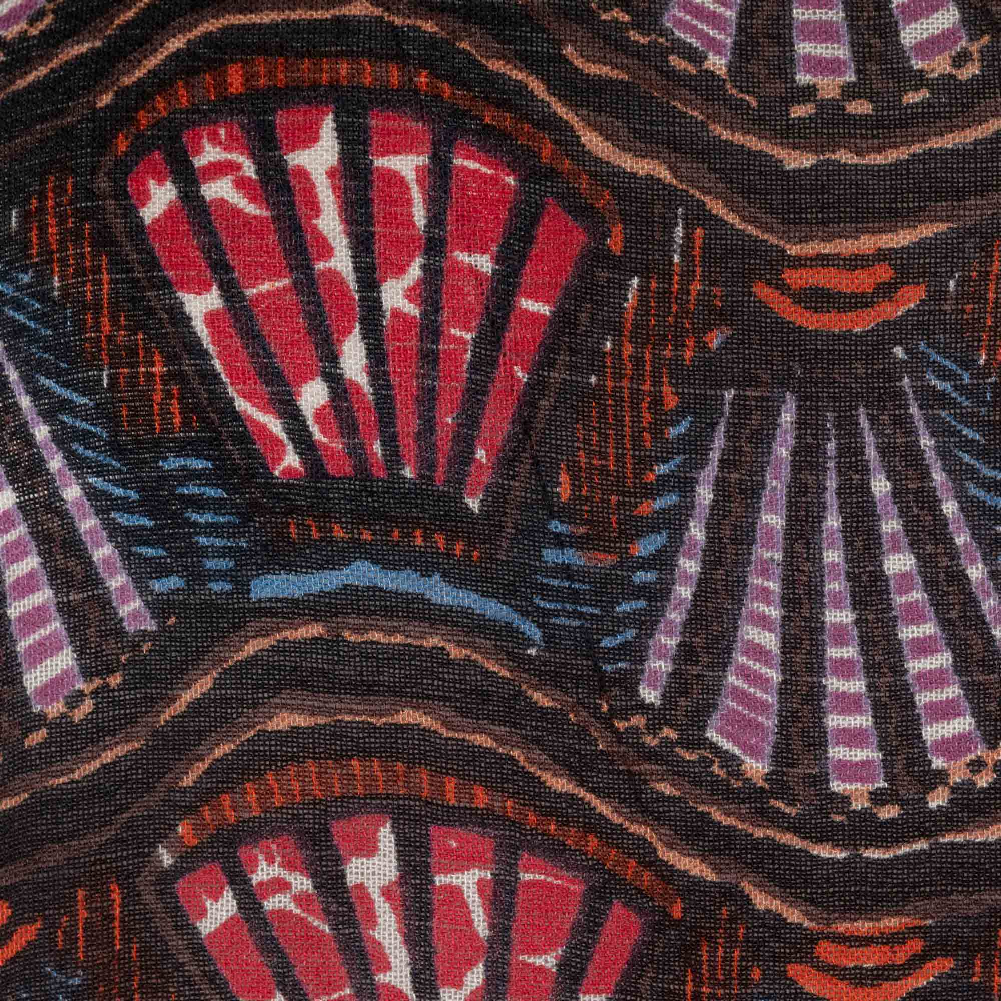 A close up image of the pattern reveals the detail and qaulity of the intricate print