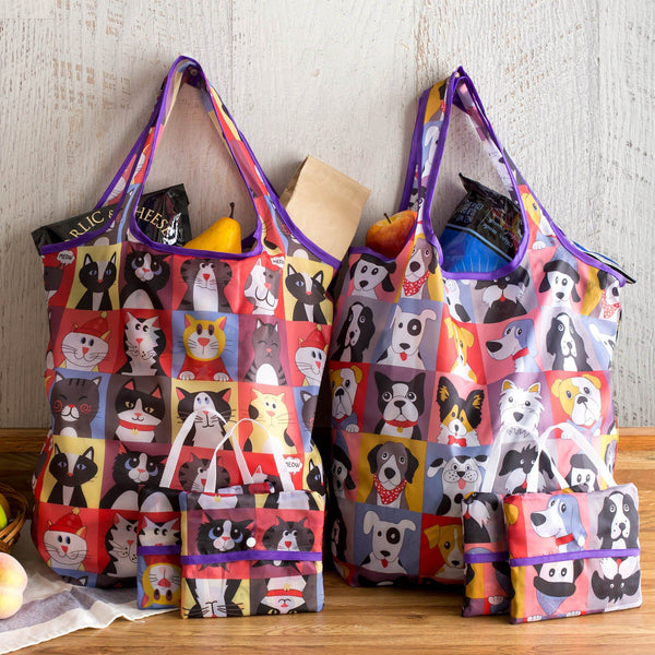 Pet Portrait Compact Shopping Bags - Set Of 3