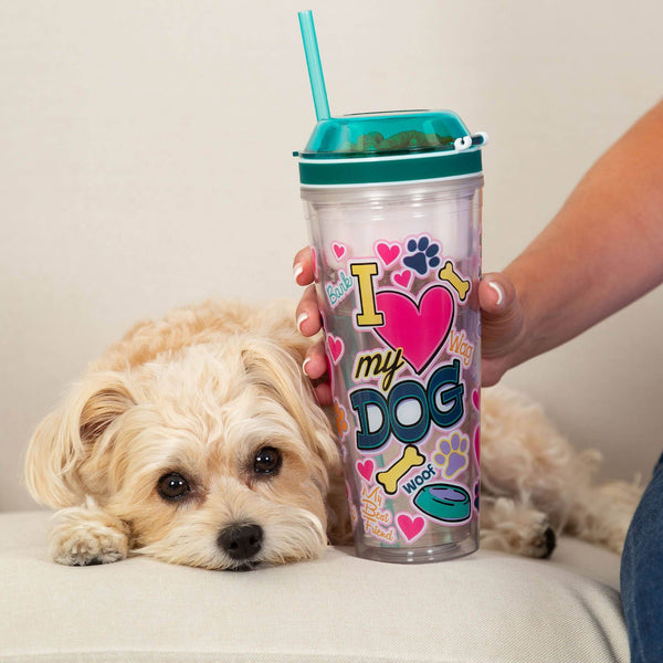 I Love My Dog Drink & Snack Travel Cup