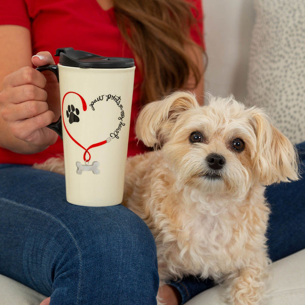 Paw Prints On My Heart Ceramic Travel Mug