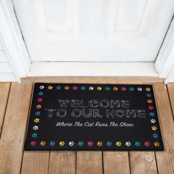 Cat Runs The Show Recycled Door Mat