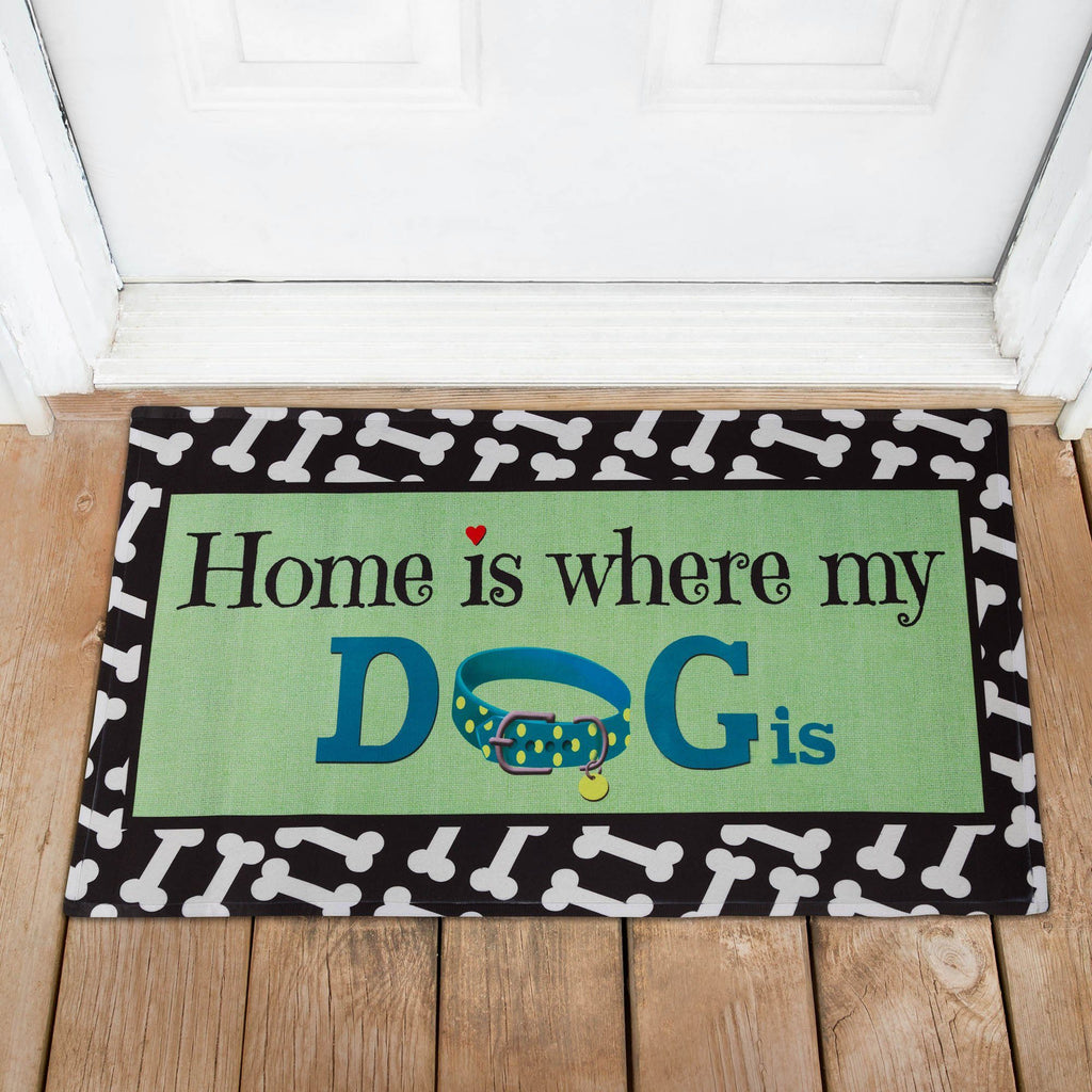 Home Is Where My Dog Is Recycled Door Mat
