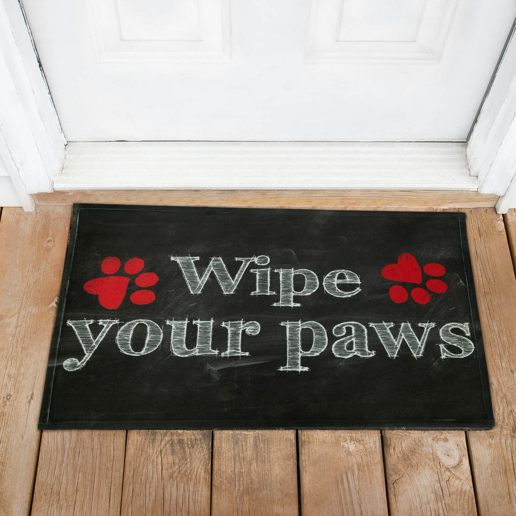 Wipe Your Paws Chalk Art Recycled Door Mat