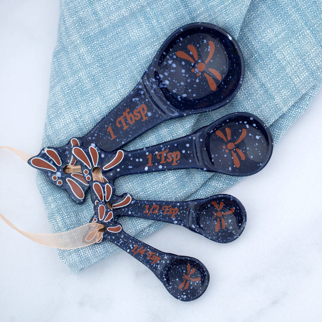 Midnight Dragonfly Ceramic Measuring Spoon Set