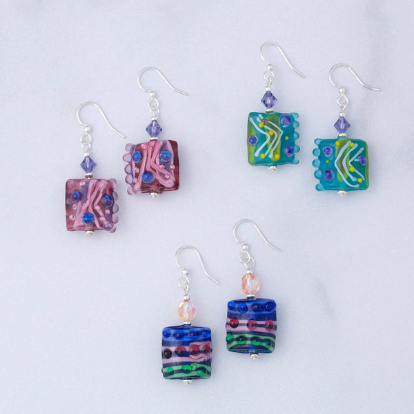 Jazzy Lampwork Glass Earrings