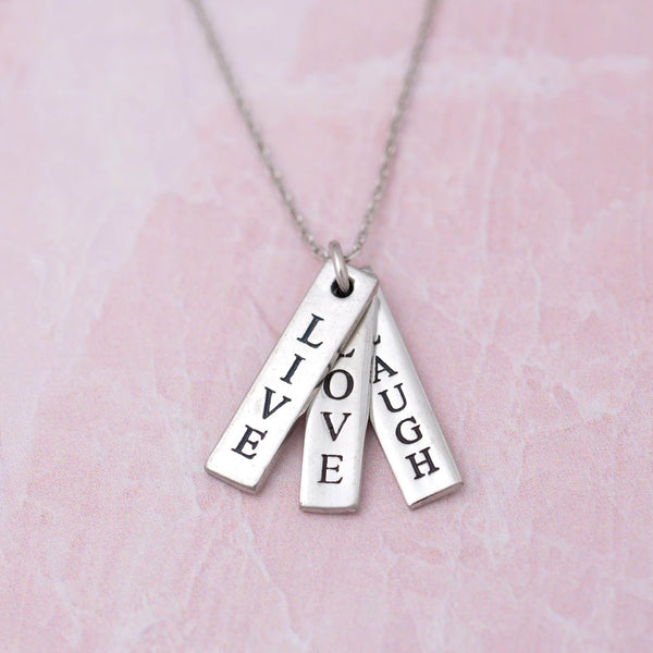 Live Love Laugh Pewter Necklace