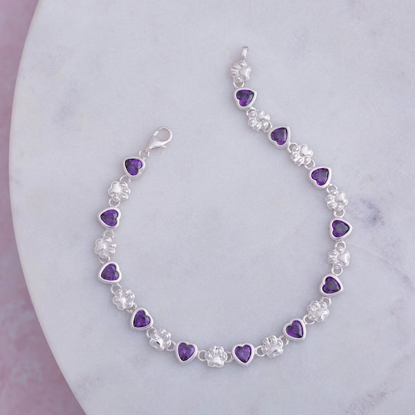 Amethyst Hearts & Paws Sterling Bracelet