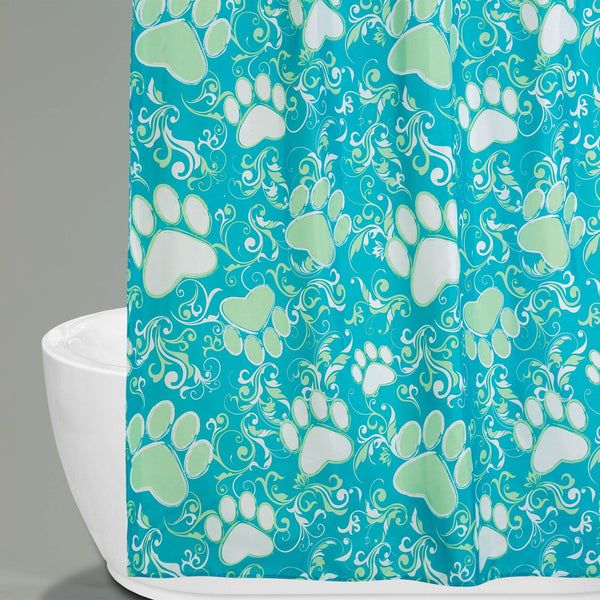 Ocean Blue Paws Aplenty Shower Curtain