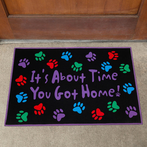 It's About Time Paw Print Door Mat