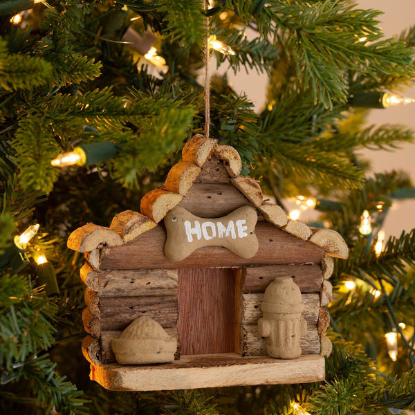 Handmade Recycled Driftwood Dog House Ornament