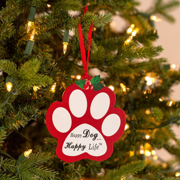 Happy Life Christmas Paw Ornament Set Of 2