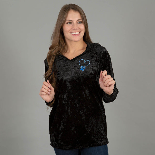 Crushed Velvet Paw Print Hooded Tunic