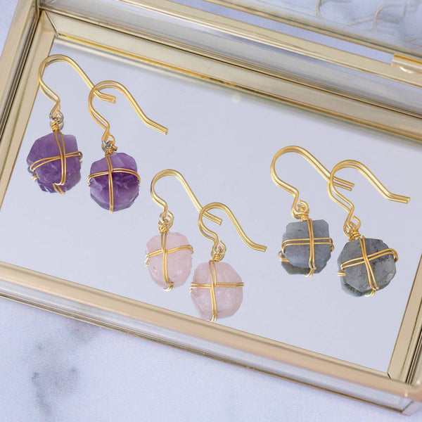 Wrapped Stone Gold-Plated Earrings